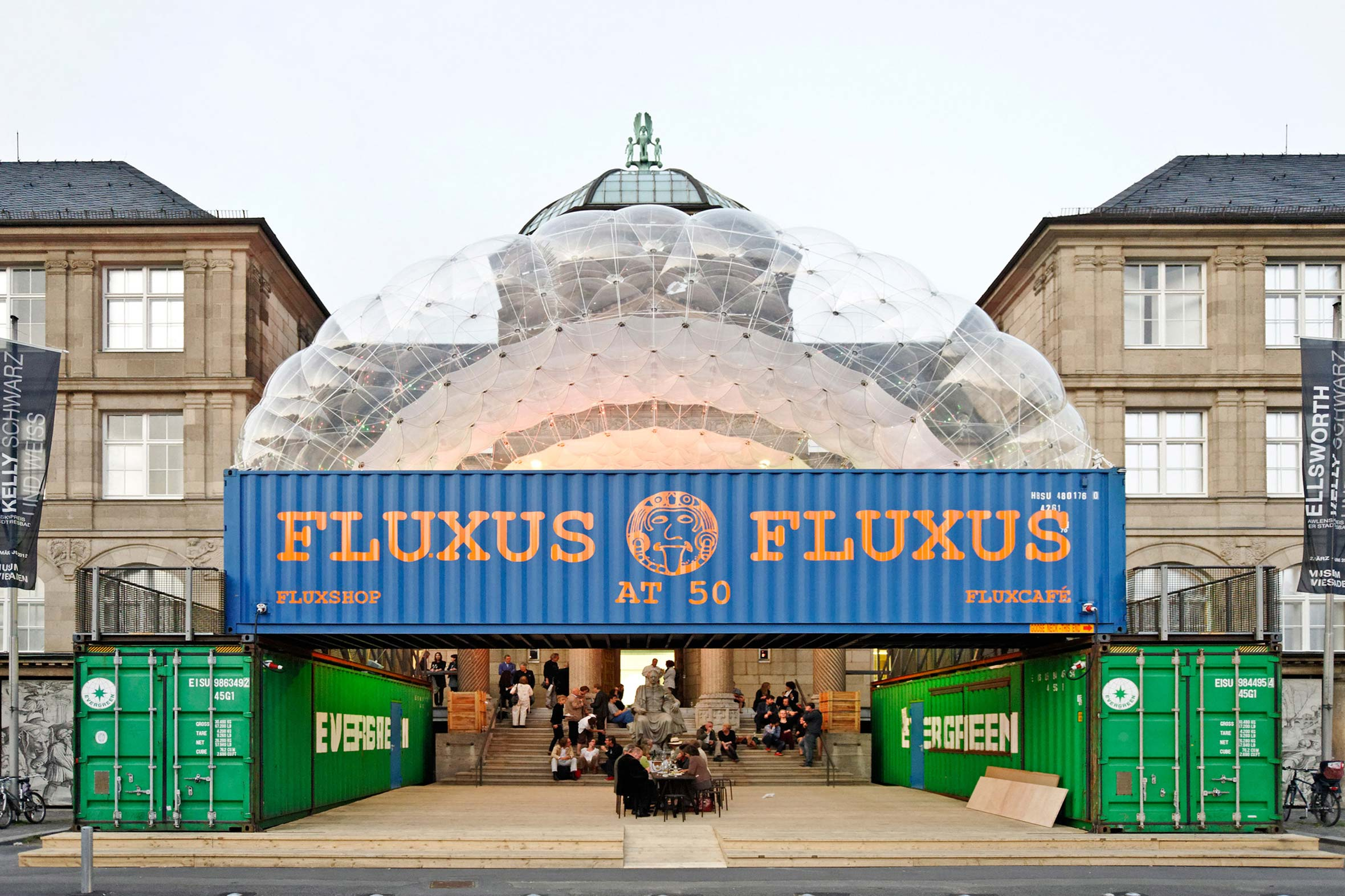 Tonia Bürkle (blaugrau): Fluxus at 50 für Museum WiesbadenFluxus at 50 2