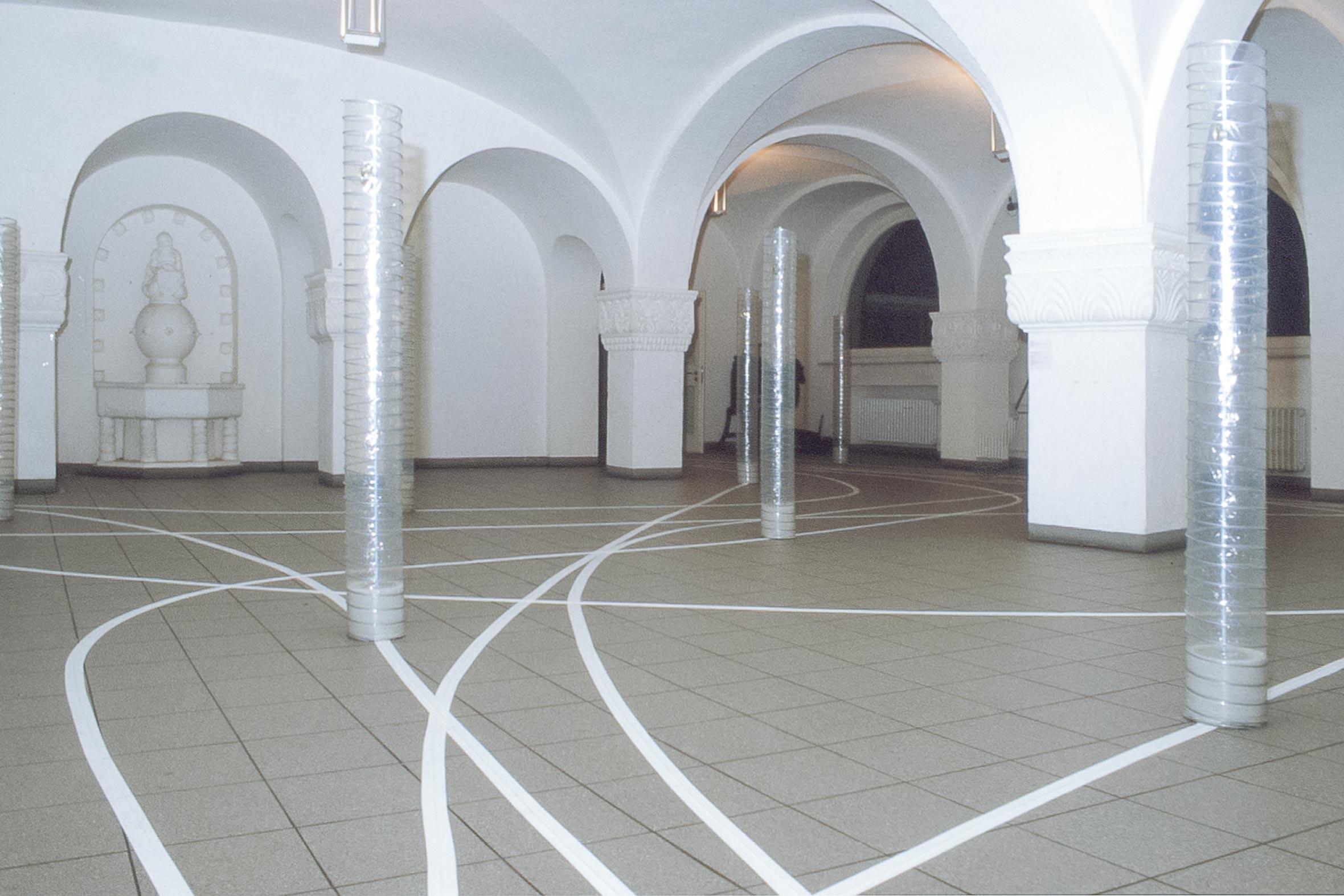 Tonia Bürkle (blaugrau): Raum Figur Weg für Hochschule für Gestaltung OffenbachRaum Figur Weg 1